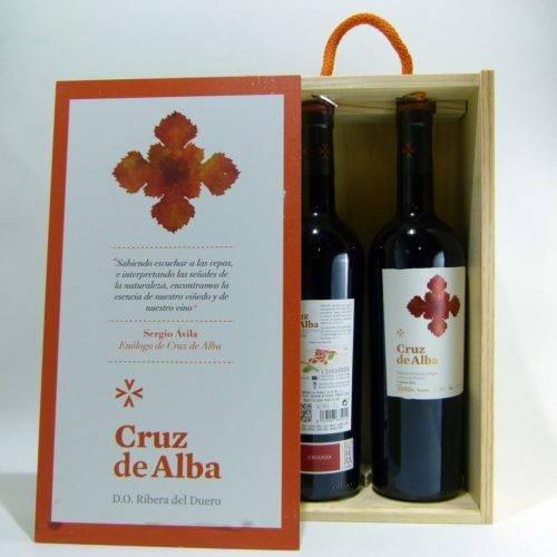 Estuche regalo 2 botellas de Vino Tinto Crianza Cruz de Alba D.O.Ribera Duero