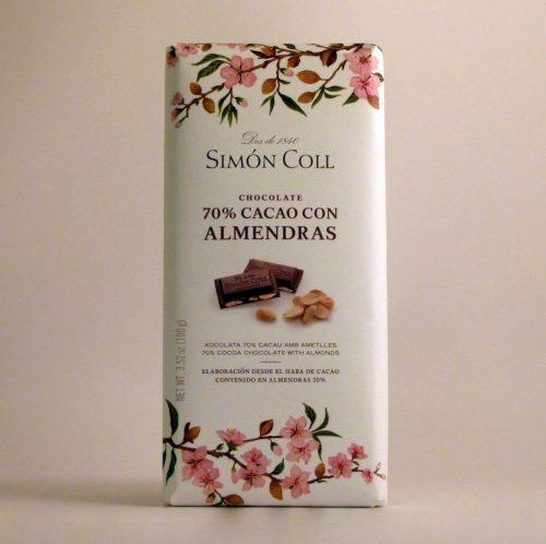 Chocolate 70 % Almendras Simon Coll - Diferente