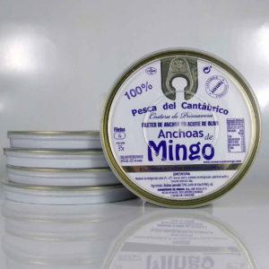 pack de 5 latas de anchoas de conservas Mingo de 14 filetes