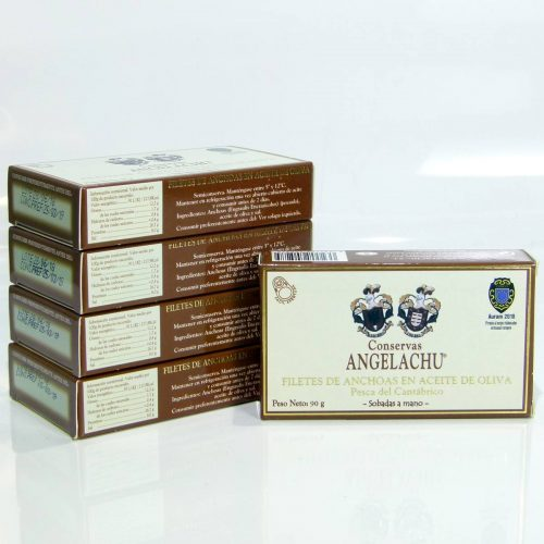 Anchoas Angelachu pack ahorro de 5 latas doble octavillo en aceite de oliva | Anchoas de Santoña