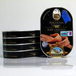 Anchoas del Cantábrico Codesa serie limitada pack de 5 latas de 190 gramos