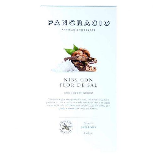 comprar Chocolate Pancracionegro nibs con flor de sal online100 grs