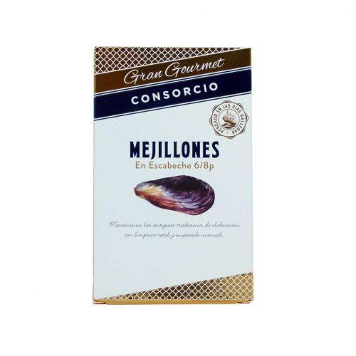 Conservas consorcio mejillones en escabeche gran gourmet 111 gramos
