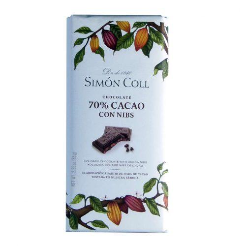 Comprar Chocolate Simon Coll 70 % cacao con nibs 85 grs