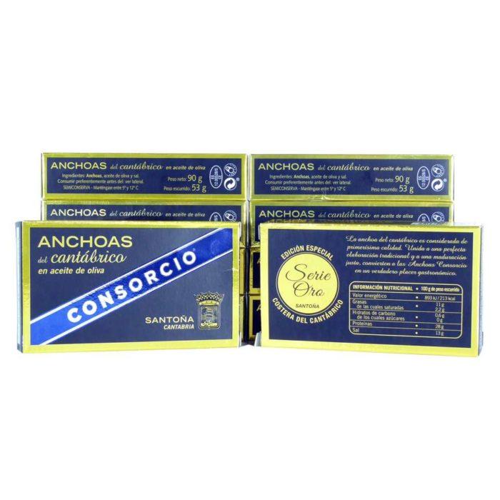 Descuento 10 latas de anchoas Consorcio serie oro doble octavillo