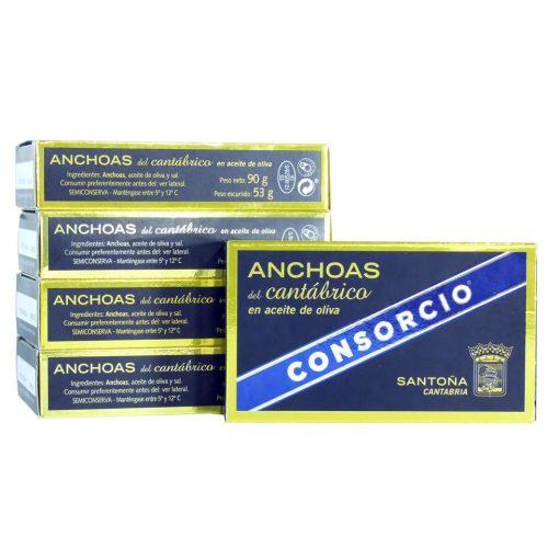 Oferta 5 latas de anchoas consorcio doble octavillo