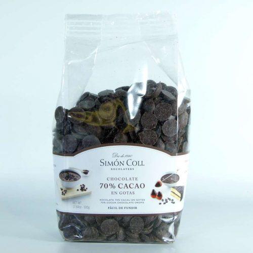 Pepitas de chocolate de cobertura Simon Coll 70% cacao 500 grs