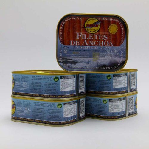 Oferta 5 latas de anchoas del cantabrico en aceite de oliva conservas Hoya 360 grs