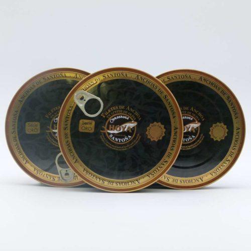 PROMO 3 panderetas de anchoas del Cantábrico Serie Oro Hoya