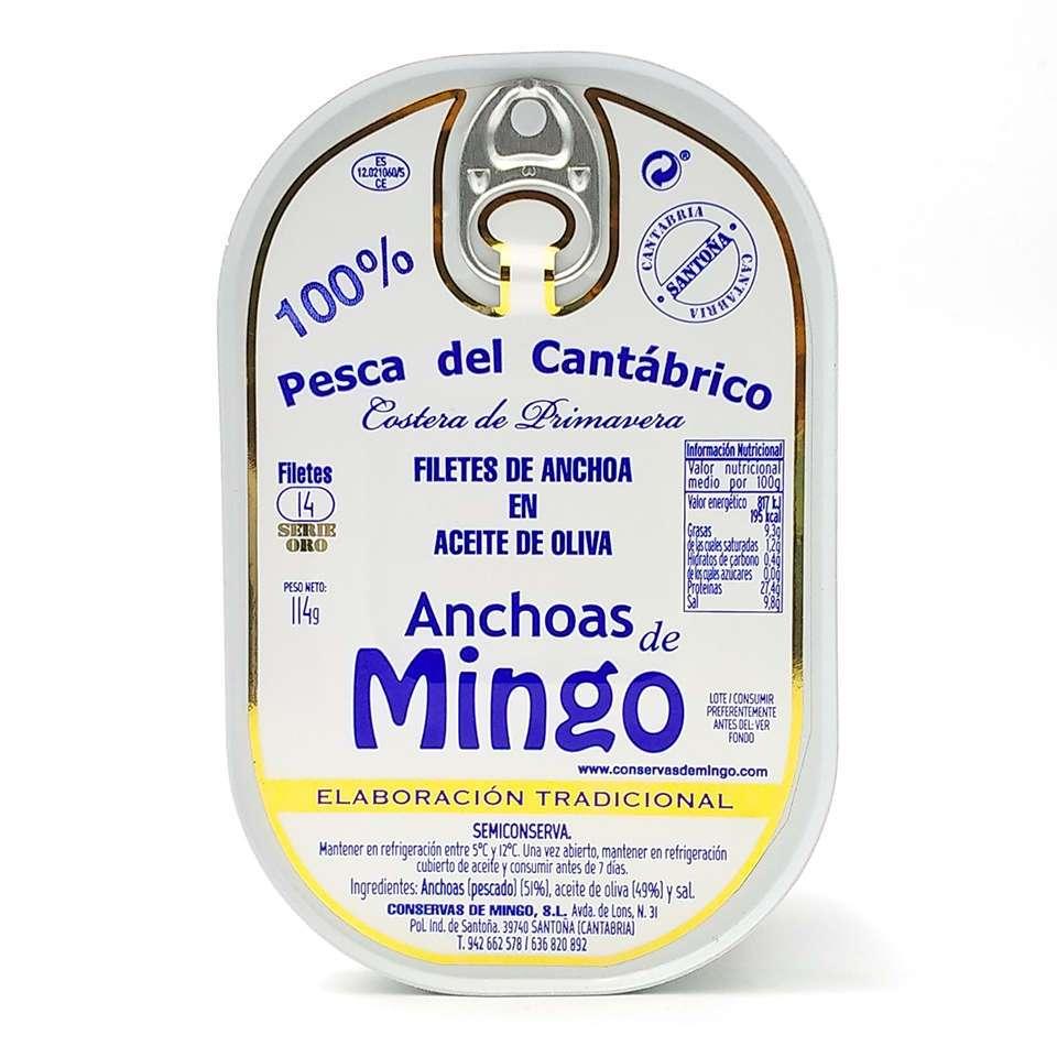 Anchoas Mingo serie oro lata de 14 filetes