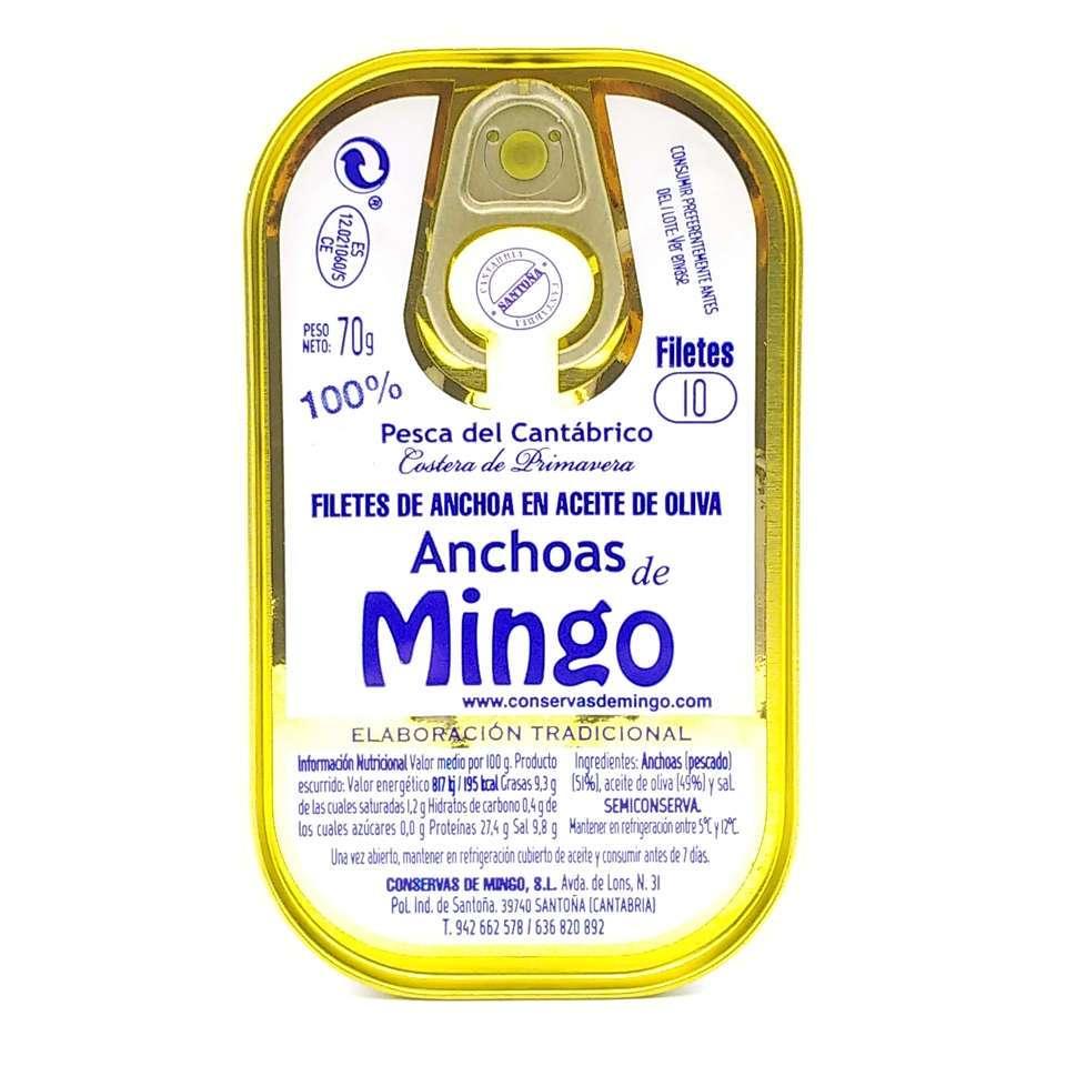 Lata de 10 filetes anchoas Mingo
