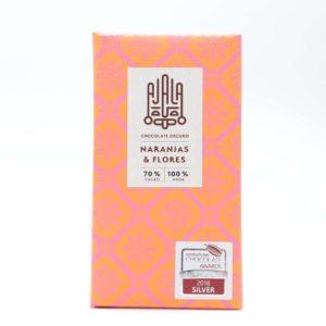 Tableta de chocolate Ajala 70% cacao naranjas y flores 45 grs