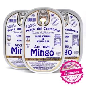 3 hansas de anchoas de Conservas Mingo serie oro