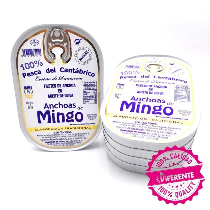 Oferta 5 latas de anchoas Mingo serie oro online