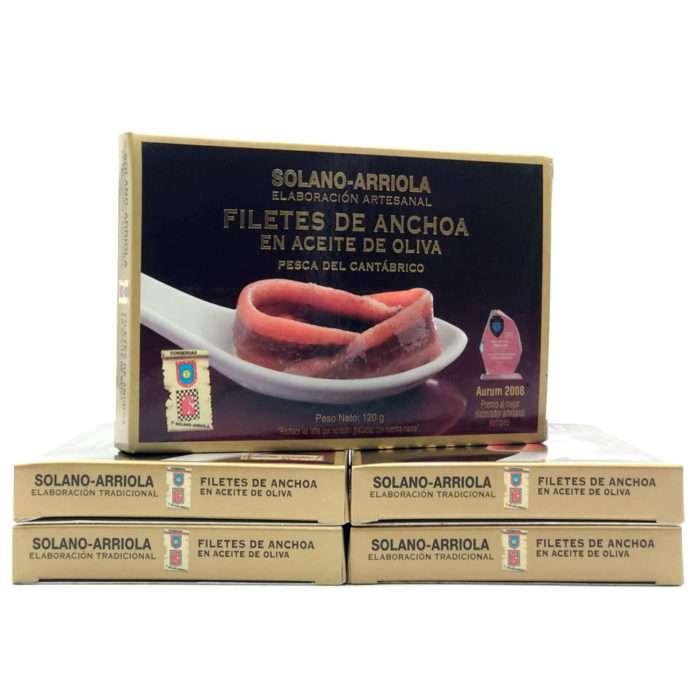 Oferta 5 latas anchoas Solano Arriola 10-12 filetes