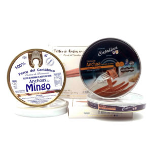 Selección de panderetas de anchoas de Santoña
